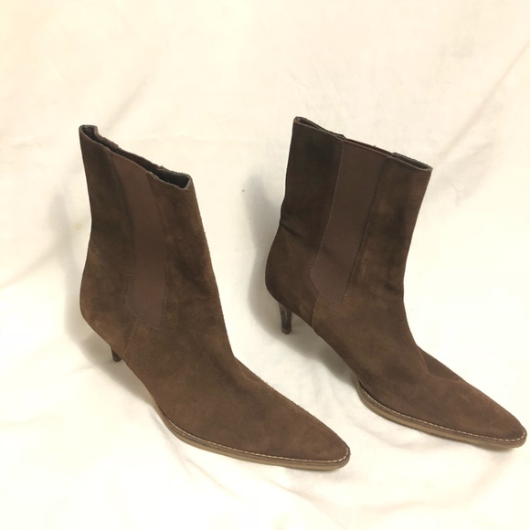 ae316d4ee8f0a Banana Republic Shoes | Brown Suede Kitten Heel Boots | Poshmark